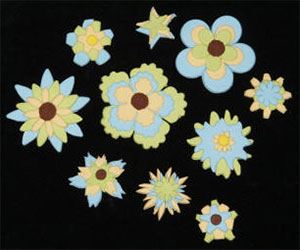 Fondant Assorted Flowers- Yellow/Blue