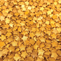 Shiny Gold Pearl Stars Shaped Sprinkles - 4 Oz.