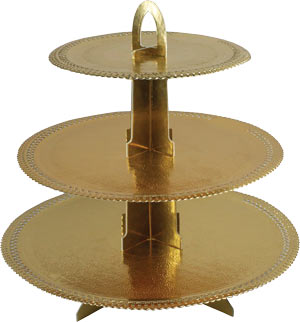 3 Tier Gold Doily Stand